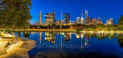 Austin, skyline, city, Long Center, downtown, pool, reflection, reflects, night, park, cityscape, Frost Bank, buildings, Austonian, W Hotel, 360 Condos, panorama, pano,panos,