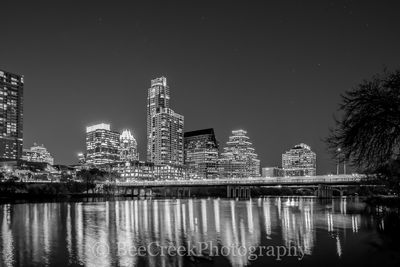 Austin Skyline Refections BW, Austin skyline, reflections, water, Lady Bird Lake, downtown, first street bridge, hike and bike, black and white, bw, city, , austin skylines, austin cityscapes