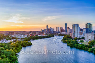 Austin skyline, austin skyline aerial, austin skyline pictures, austin skyline images, images of austin skyline, aerial, drone, austin, night, twilight, dark, lady bird lake, high rise buildings, arch