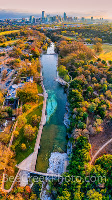 austin skyline, barton springs pool, barton creek, landmark, iconic, zilker park, downtown austin, austin texas, austin tx, spring fed aquafers, natural, fall, fall foliage, autumn,