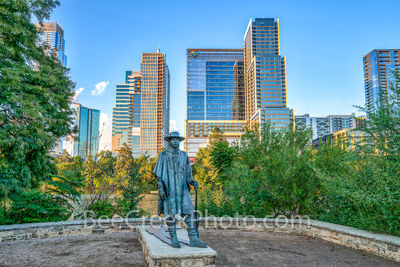 austin, skyline, Independent, Jingle, Stevie Ray Vaughan, statue, bronze, cityscape, Google, downtown, city, lady bird lake, town lake, downtown, blues, rock and roll hall of fame, music,musician,