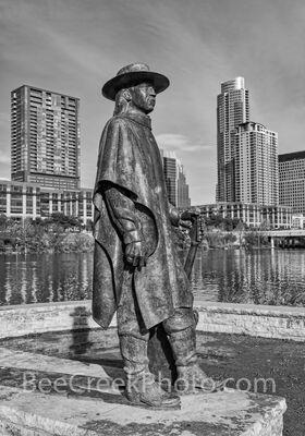 Austin Stevie Ray Vaughan Statue Vertical B W