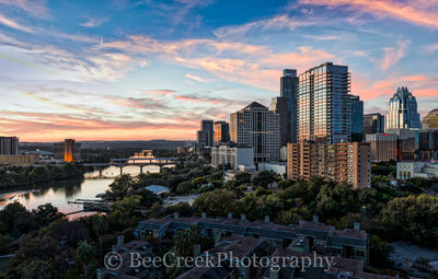 Austin, sunset, skylines, cityscape, wall art, Lady Bird Lake, Congress bridge, Lamar bridge, high rise, skyscrapers, buildings, urban, modern, city, downtown, clouds, pink, orange, sky, dusk, , austi