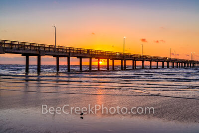 port a, caldwell pier, sunrise, glow, surf, beach, sandy, bird, sand piper, tide, pier, fishing, orange, ocean, gulf of mexico, port aransas, aransas pass, sun rays, texas coast, texas, coast, seascap