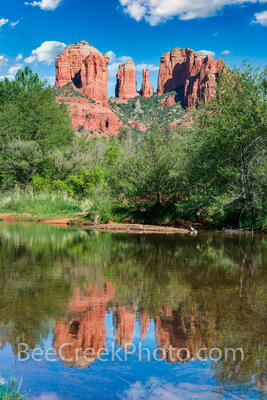 Cathedral Rock Reflection at Oak Creek Crossing Vertical