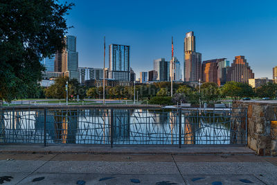 Austin, cityscape, skyline, city, downtown, dusk, high rise, architecture, reflection.  evening, reflected, blue,