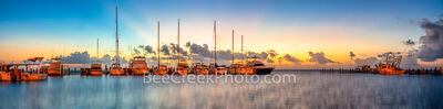 Colorful Dawn at Fulton Harbor Pano - Texas Coast