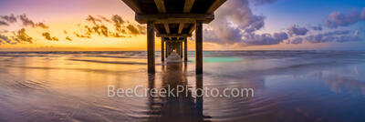 Texas Colorful Sunrise Port A Caldwell Pier Pano