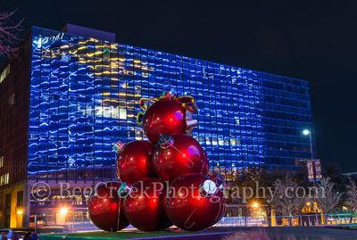 Christmas ornaments, Dallas, Omni, abstract, colors, lights, oversized, red, reflections, texas christmas, texas, christmas decorations,