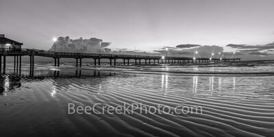 Dawn Port Aransas Pier BW Pano