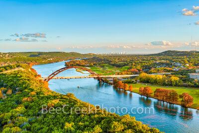 texas, austin texas, austin pennybacker bridge, austin 360 bridge, austin tx, city of austin, lake austin, 360 bridge, bald cypress, fall, autumn, reflections, austin skyline, downtown austin, fall co