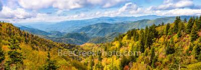 Fall Smoky Mountain Scenery Pano