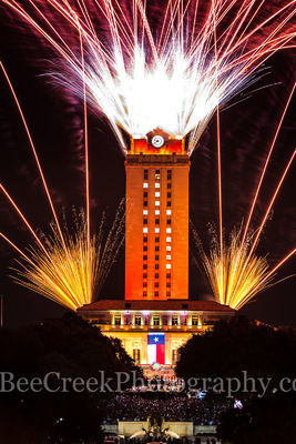 Austin, UT, Tower, orange, 17, fireworks, downtown, graduating, students, burnt orange, UT Tower, crowds,  Texas flag, graduation, main building,