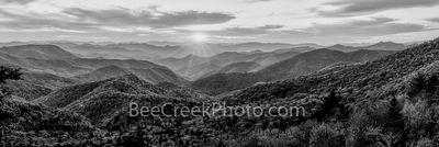 Great Smoky Mountains Sunset Pano BW