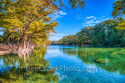hill country, texas hill country, emeral green waters, blue green, frio river, bald cypress, cypress, reflections, clear water, beauty, golden, Garner state park, garner, blue sky, whispy clouds,