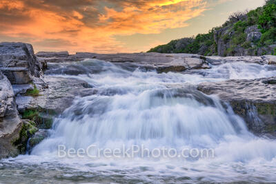 Hill Country Waterfall at Sunset