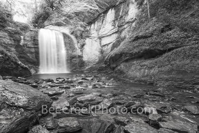 looking glass falls, waterfalls, waterfall, falls, stream, rocks, slate, granite, geology, looking glass rock, b w, black and white, creek, pisgah national forest, smoky national forest, smokies, nort
