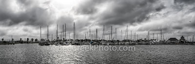 Moody Skies Over Marina B W Panorama