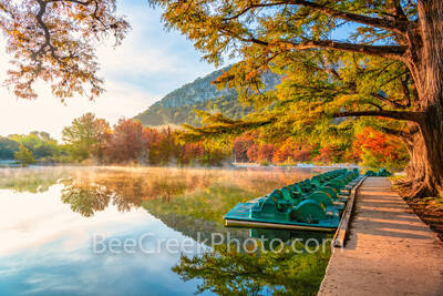 garner, garner state park, texas hill country, hill country, frio river, fall season, autumn, river, bald cypress, limbs, paddle boats, sun, morning, mist, misty, water, reflected, orange,