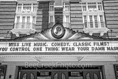 paramount theatre, paramount theatre marquee bw, sign, marquee, theater, black and white, b w, austin, texas, movie theater, downtown austin, austin texas, landmark, austin landmark, national register