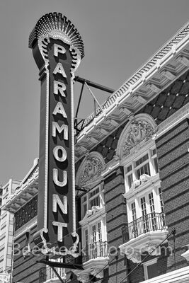 Paramount Theatre Sign BW Vertical