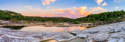 Pedernales Falls Sunset Reflections Pano