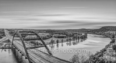 Austin, Austin 360 bridge, pennybacker bridge, black and white, bw, Texas, Lake Austin, scenic, sunset, landscape, landscapes, sunset scenery, clouds, images of texas, texas hill country, texas scener