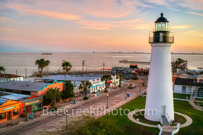 Port Isabel Lighthouse, sunrise, port isabel, downtown, shops, city, landmark, historic, city, lighthouse keepers cottage, coastal, south padre island, beach, coast, queen isabela causeway, bridge,