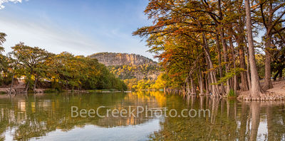 Texas, Garner State Park, Frio River, autumn, bald cypress, texas hill country, fall, old baldy, river, water, reflections, golden, rusty, cypress, hill country, pano, panorama,