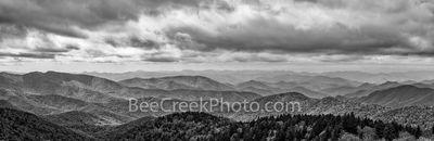 Shadows over Blue Ridge Mountains Pano BW-