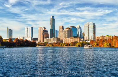 Austin, Austin 360, Austonian, Frost, Texas skyline, architectural, architecture, blue skies, boardwalk, boats, buildings, cities, city, city life, city scene, cityscape, cityscapes, downtown, fall co