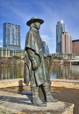 Stevie Ray Vaughan statue with Austin skyline, Stevie Vaughn, Austin Texas, Austin, Austin Cityscape, Texas, Austin music scene, Ladybird lake, town lake, hike and bike trail, Frost building, W buildi