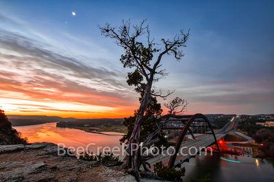 Sunrise, Austin 360 Bridge, sunset,  Pennybacker bridge, Austin, Lake Austin, loop 360, bridge, Texas, sunrise glow, orange, landmark, tourist, photo, visitors,