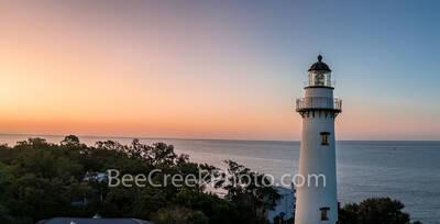 Sunrise at St. Simon Lighthouse Pano