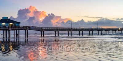Sunrise Over the Pier Port Aransas TX Pano