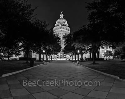 Texas Capitol Night Pano BW