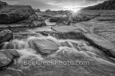 Texas Hill Country Waterfall at Sunset BW