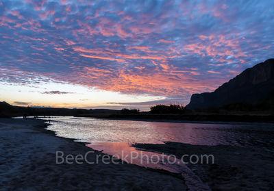 Big Bend National Park, sunrise, pre-sunrise, Rio Grande, Santa Elena Canyon, colors, mroning sky, clouds, underlight, pink, waters, Texas landscape,