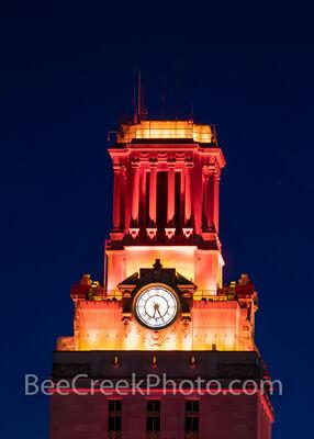 Top of UT Tower in Orange Vertical