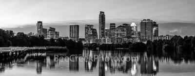 Twilight Over Austin Skyline Pano BW