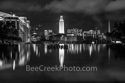 UT Tower Reflections B W