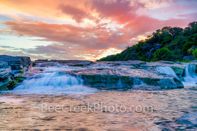 Waterfalls in Texas Hill Country at Dusk