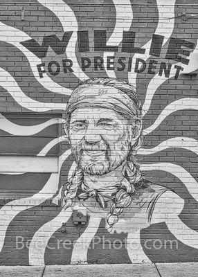 Willie for President Mural BW
