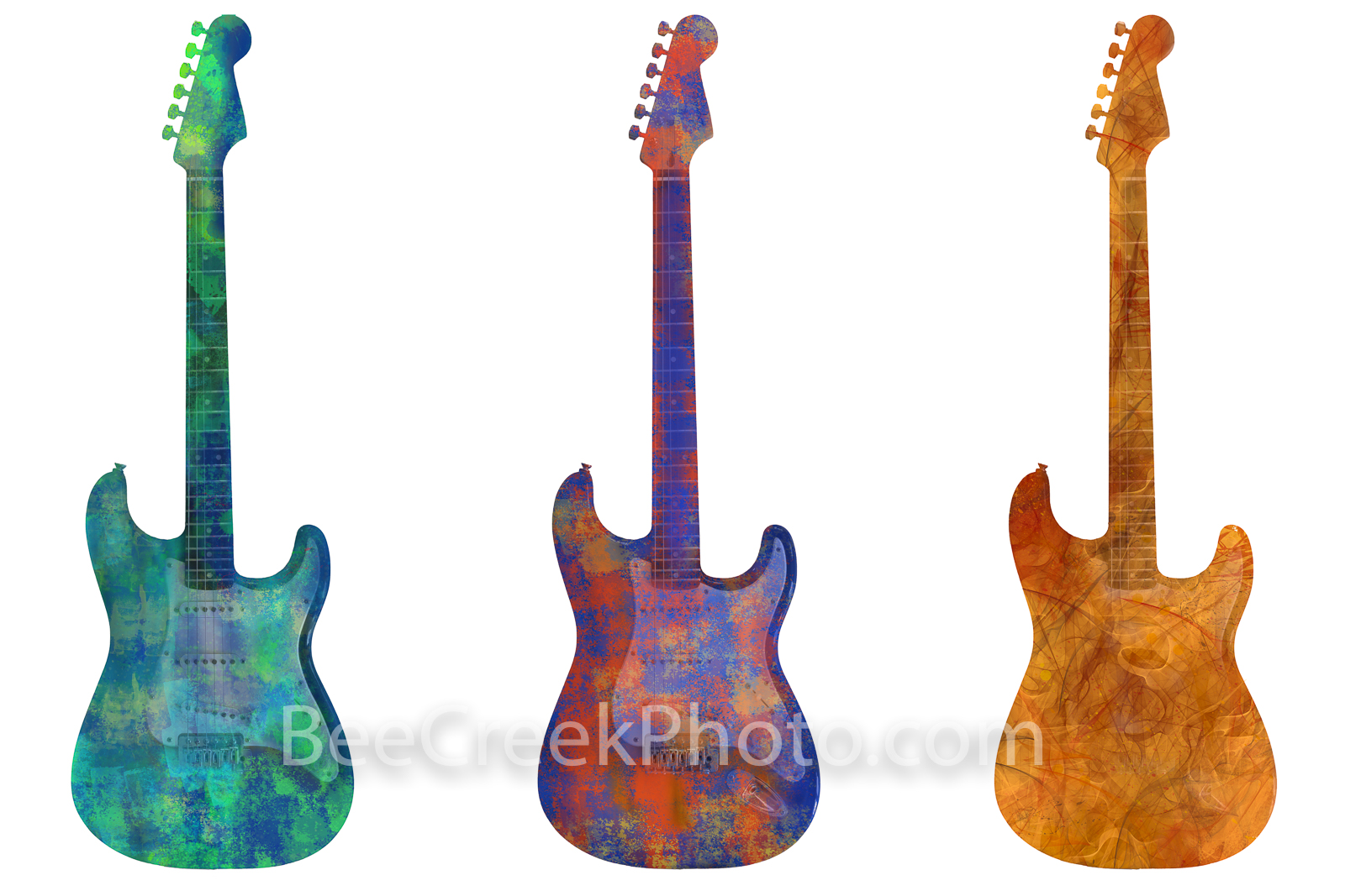 Abstract Guitar Trio - A fun colorized digital group of three electric guitars for your wall. This is a abstract digital image...