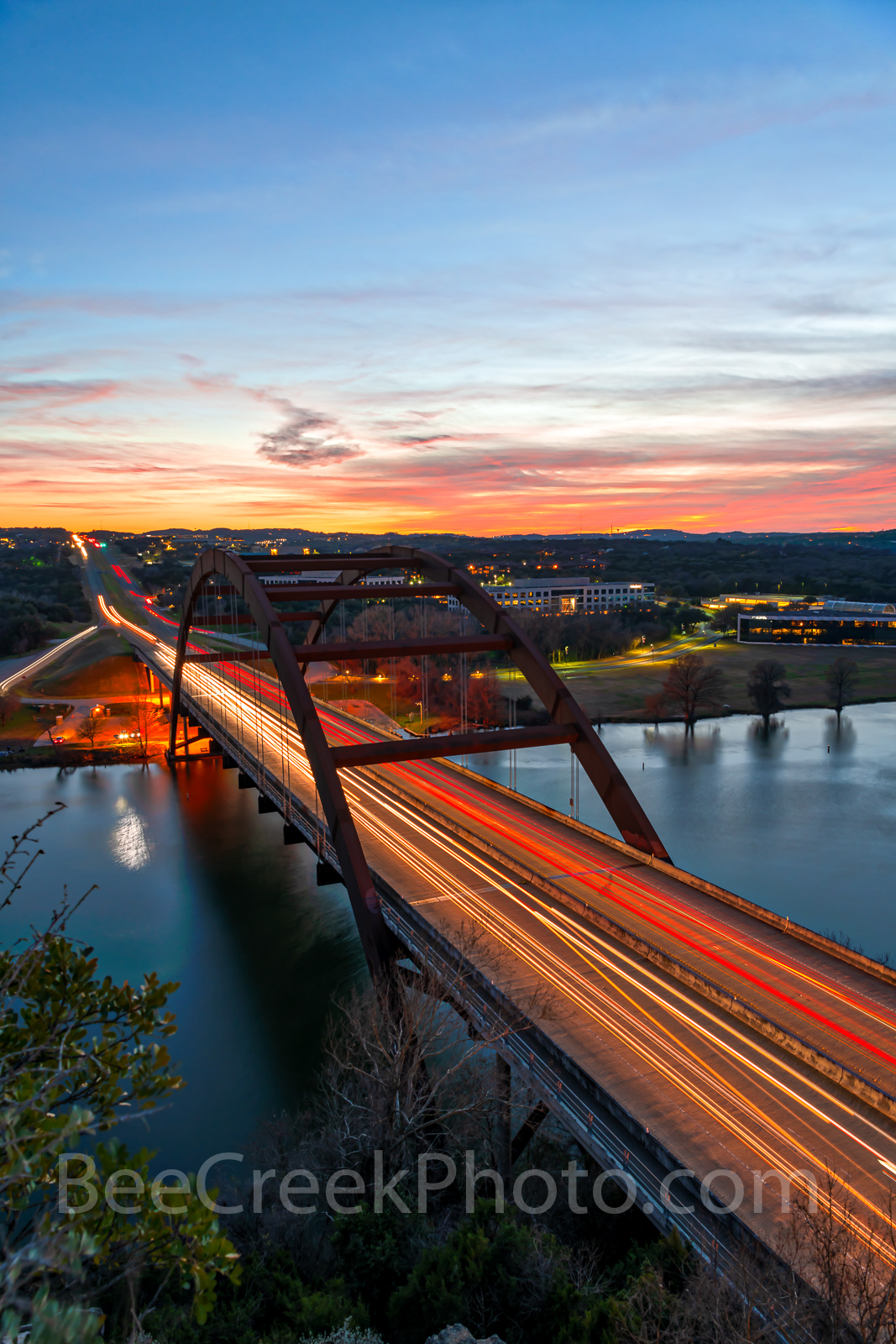Austin, Pennybacker, bridge, 360 bridge,night, dark, sunset, vertical, Lake Austin, colors, texas hill country,texas scenery, boats, hill country, texas landscape, recreational, boating, swimming, pic, photo