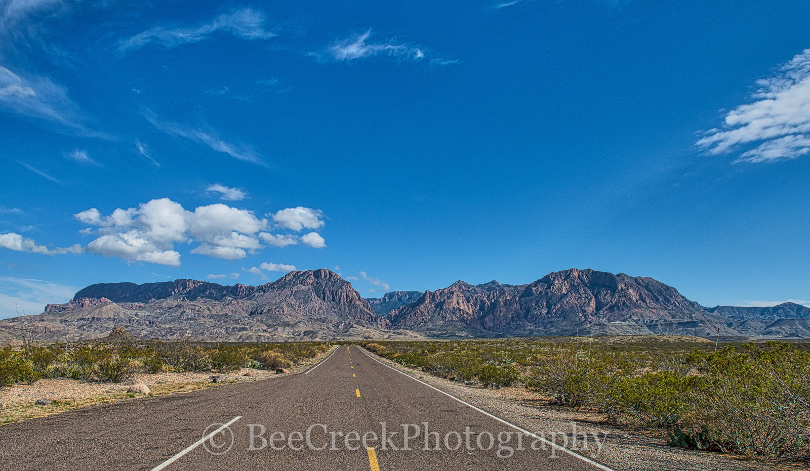 Chiso mountains, Road, big bend, blue sky, clouds, landscape, ross maxwell Scenic Drive, window view, desert landscape, big bend national park, , photo