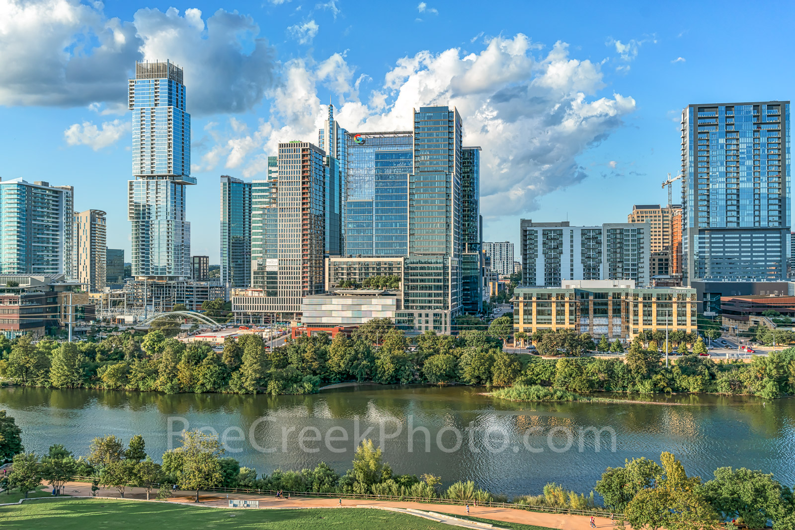 Aerial Austin Skyline, Austin, skyline, aerial, lady bird lake, hike and bike trail, cityscape, water, tallest building, Independent, Jingle, Google, Northshore Condos, W, building, city, sky-scrapers, photo