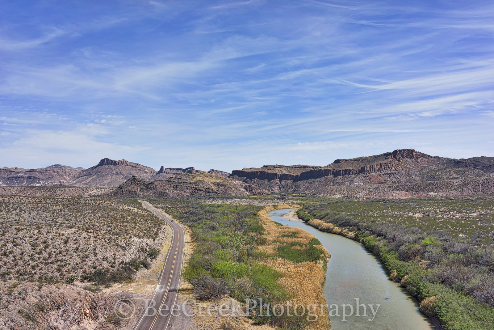 Big Bend State Park, Mountains, Rio Grande River, aerial, blue sky, landscape, mexico, scenic, , photo