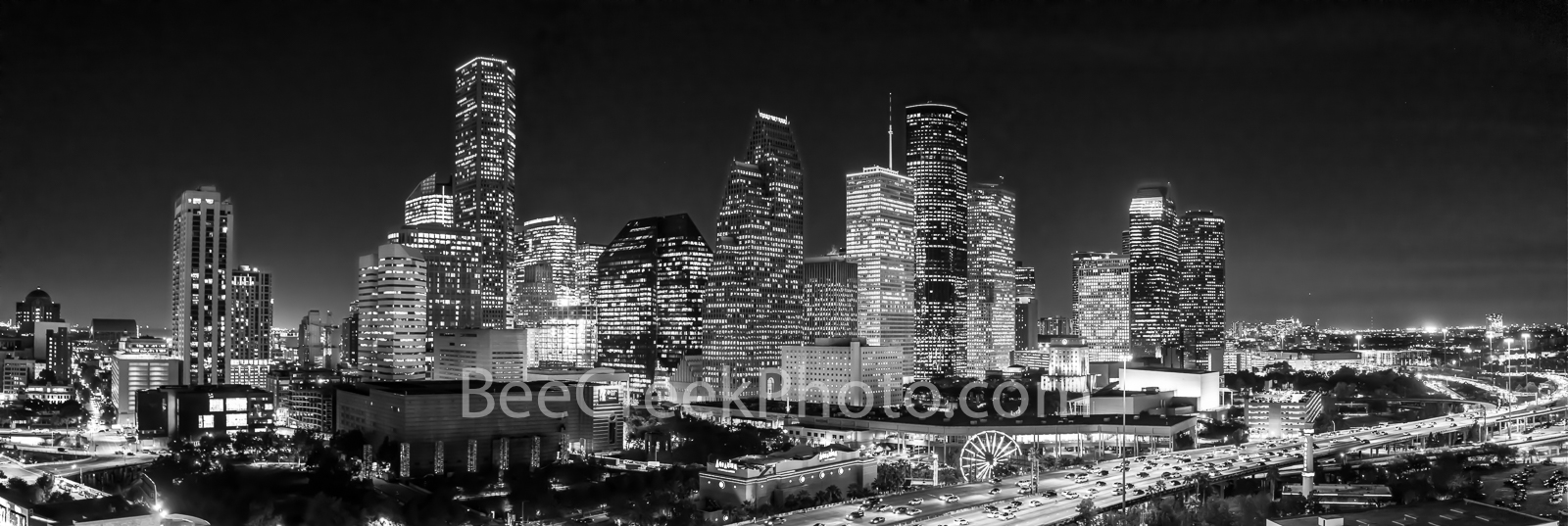 Houston, skyline, Houston skyline, black and white, BW, night, aerial, panorama, pano, city of houston, downtown houston, skyscrapers, buildings, high rise, IH45, museum district, art, culture, music,, photo