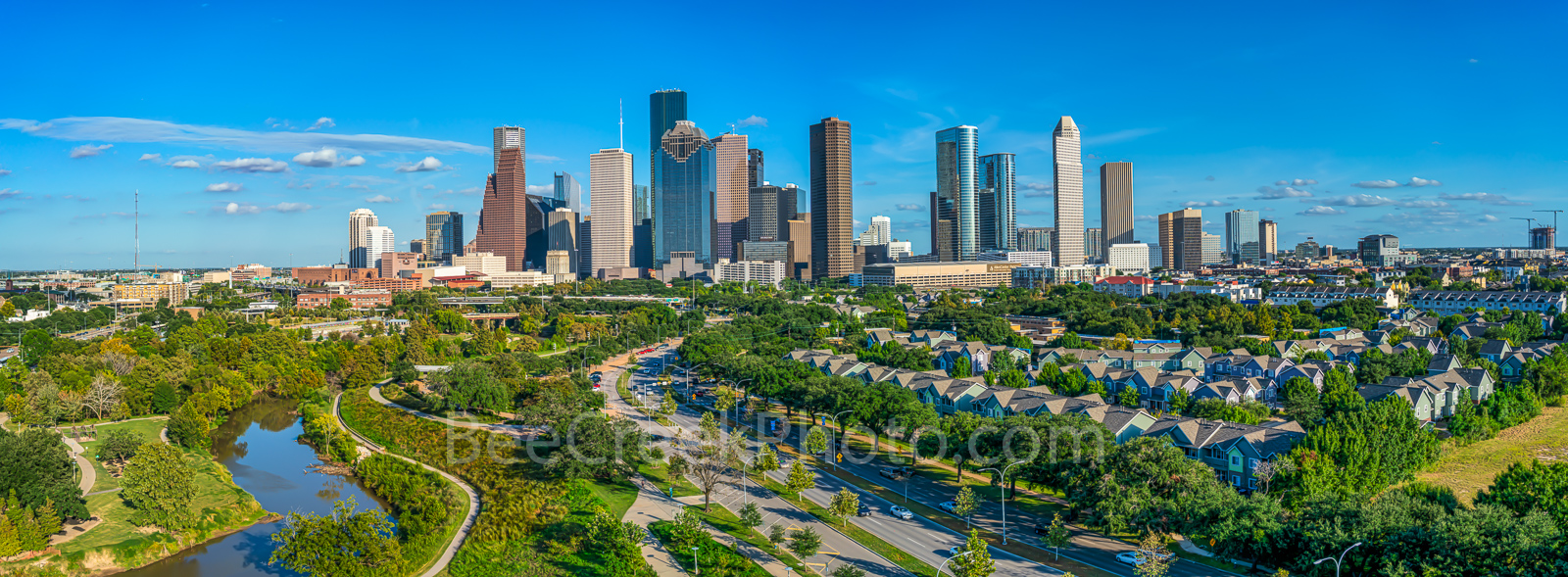 Houston, Aerial Houston skyline Panorama, aerial, skyline, cityscape, pano, panorama, cityscapes, city, park, skylines, downtown, skyscrapers, bayou, green, Eleanor tinsley Park, Jamail Skate Park, dr, photo